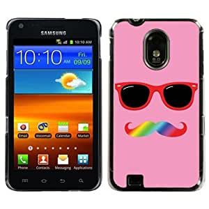 One Tough Shield Hard Cover Case for Samsung Galaxy S-II S2 Epic 4G Touch (Sprint) / Also Fits BOOST, VIRGIN MOBILE & US CELLULAR GALAXY S II - (Mustache Rainbow)