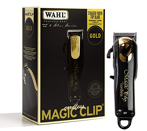 (Wahl Professional 5-Star Limited Edition Black & Gold Cordless Magic Clip #8148-100 - Great for Barbers and Stylists - Precision Cordless Fade Clipper Loaded with Features)