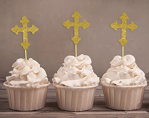 Darling Souvenir, Christening Baptism Cupcake Toppers, Dessert Decorations - Pack Of 20