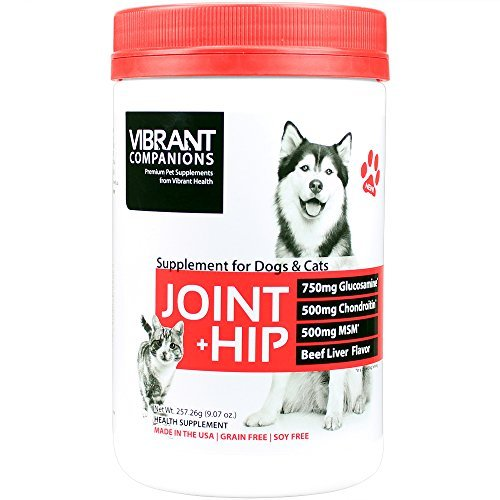 Hip Health Joint Support - Vibrant Companions - Joint + Hip for Dogs and Cats, Supports Joint Health, Repair, and Mobility with Glucosamine, Collagen, and Turmeric, Gluten Free, Dairy Free, Beef Liver, 9.07 Oz (FFP)