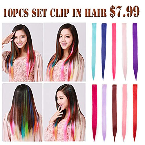 (Colorful Highlighted Clip in Hair Extensions for Kids Halloween Party 22inch Straight Wavy Synthetic Streaks)