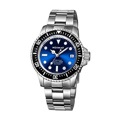Luminova Markers (NEYMAR 40mm Automatic watch 1000m Dive Watch Swiss 2824 Automatic Movement 500m Watch (Steel blue surface))