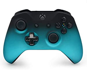 Mineral Blue Shadow Custom Wireless Controller for Xbox One Console - Textured Grip - 3.5mm Headset Jack - Chrome Steel Black D-pad - Grey on Black ABXY