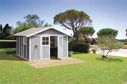 Caseta cobertizo resina jardin grosfillex deco 12 color blanco - gris: Amazon.es: Bricolaje y herramientas