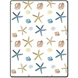 Shower Curtain 72 X 80 Inch Shellfish Star Pattern Printing Polyester Fabric