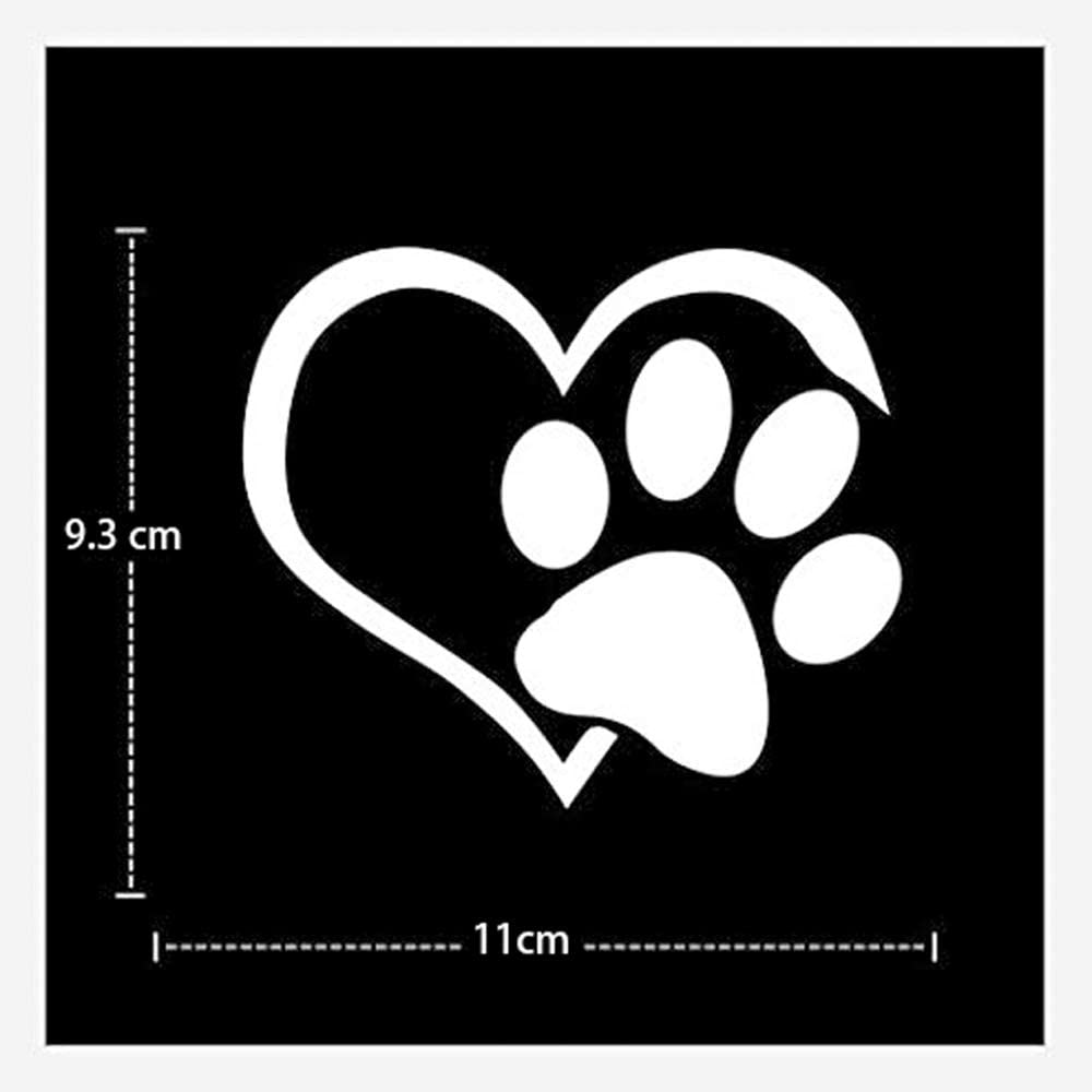 White 4.33.6in HERCHR Car Decals Reflective Cute Dog Paws Heart Shape Bumper Stickers
