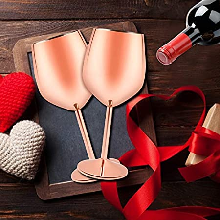 Juego de 2 copas de vino irrompibles de acero inoxidable 18/8 sin tallo, acero inoxidable rojo y blanco