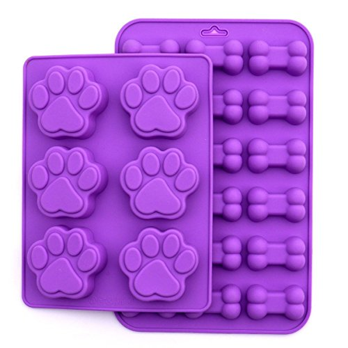 Puppy Dog Paw and Bone Silicone Purple Mold, 2 Pack Set