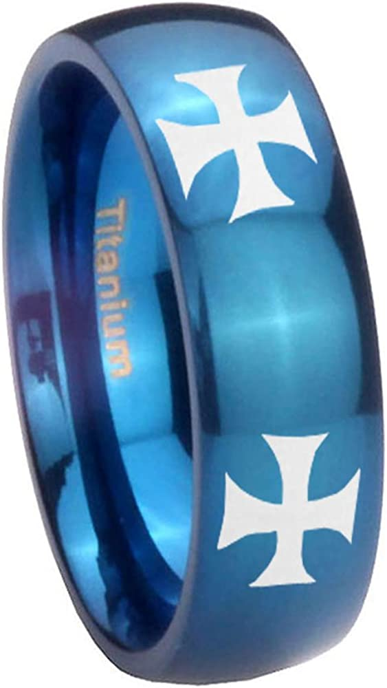Blue IP Titanium 4 Maltese Cross Dome Engraved Ring Size 4 to 13 6MM, 8MM