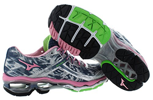 Mizuno Mujeres Wave Creation 15 Zapato Running Rosa / Azul Marino / Gris