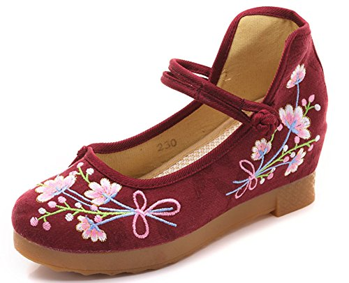AvaCostume Womens Round Toe Bouquet Embroidery Jacquard Buckle Dance Wedges Wine Red 5c2NHSi