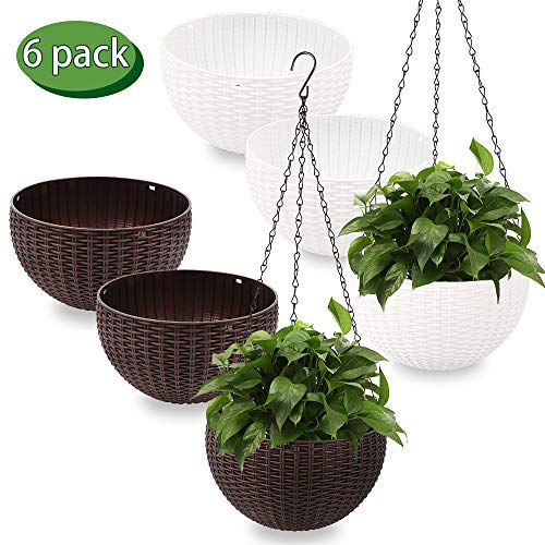Artbun 6 Pack Hanging Planter, Round Plastic Wicker-Design Chain Basket, Hanging Pot with Drain, Hanging Basket for Flowers and Plants, with 6 Hanging Chains and 3 Ceiling Hooks (Brown and - Baskets Plastic Hanging