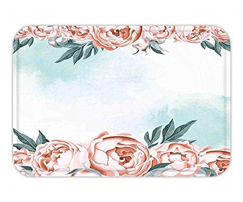 Minicoso Doormat Vintage Framework with Rose Borders Aged Aquarelle Art Bridal Flowers Wedding Theme Light Blue Coral (Flower Wedding Borders)