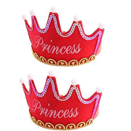 eDealMax Fiesta de cumpleaños de Los hogares en Forma de Corona Princesa Carta de Bolas casquillo de la luz LED roja 2 PCS
