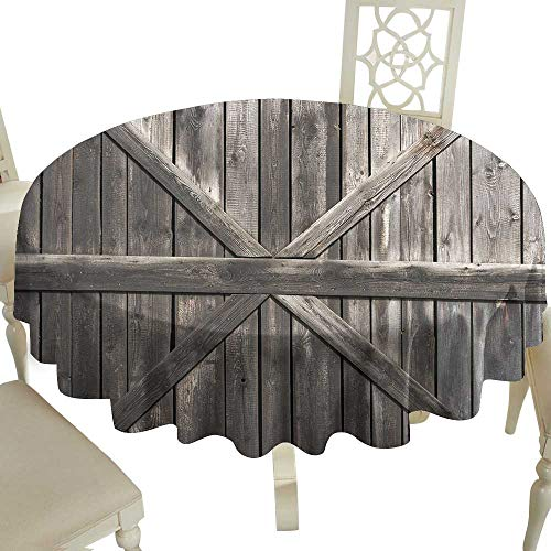 Cranekey Striped Round Tablecloth 50 Inch Rustic,Old Wooden Door with Planks Rustic Country Life Themed Architecture Building Doorway,Taupe Great for,Holiday & More