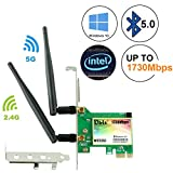 Ubit AC 1730Mbps Bluetooth 5.0 Wireless WiFi Card, 802.11 AC Dual-Band WLAN 1730Mbps Network Card with Bluetooth 5.0, Dual-Band 2.4GHz 300Mbps or 5GHz 1430Mbps Network Card for WIN10(WIE9260)