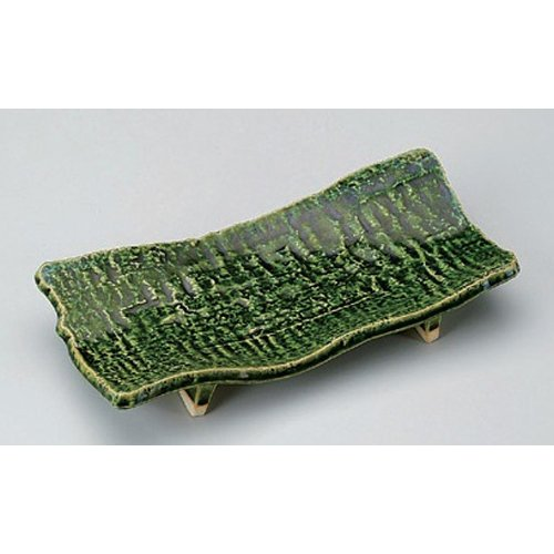 Grilled Fish Plate utw148-7-284 [9.9 x 4.7 x 1.7 inch] Japanece ceramic Oribe cutting board pottery dish tableware