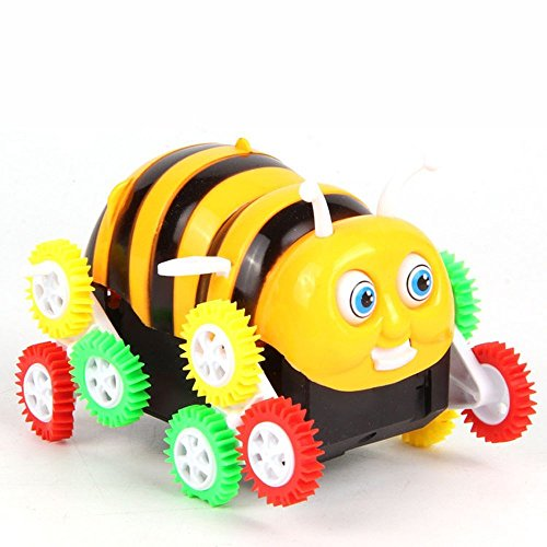 Electric Toy Cars Funny Bee Stunt Cars Skip Automatically Bucket Encounter Obstacle Flip 12 Wheels Novelty Gift for Kids