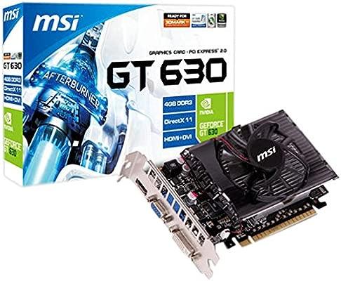 MSI GeForce GT 630 4GB - Tarjeta gráfica con GeForce GT 630 (4 GB DDR3 SDRAM, 128 bit, 2560 x 1600 Pixels), Negro