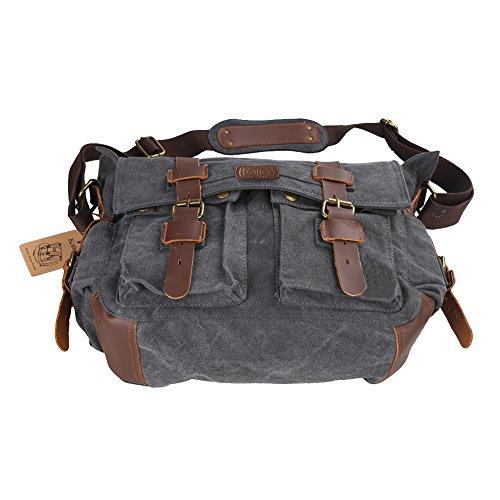 Kattee tipo Bandolera de Hombro bolsas de funda de piel con la escuela cuadro bolso bandolera para gris oscuro