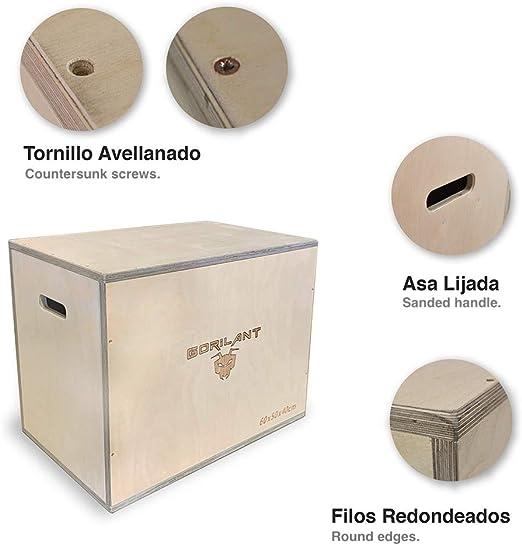 Gorilant - Cajon Pliometrico Madera de Abedul BB, Entrenamiento Crossfit, Plyo Box, cajón para Saltos, tamaño S, M, L (Cajon M 60x50x40): Amazon.es: Deportes y aire libre