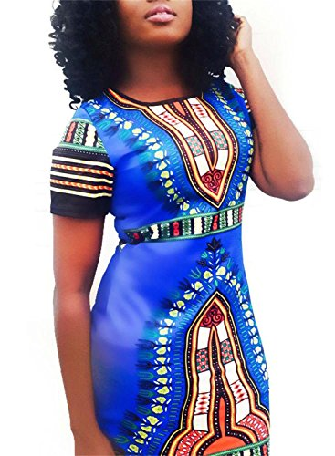 Blue Print Women African Short Horse Bodycon Dashiki Sleeve Traditional Size Dress Knight Plus SOZ7Inx