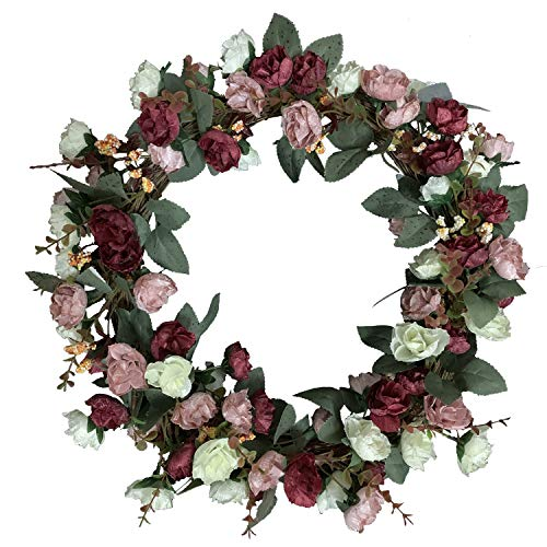 (Rose Floral Twig Wreath, 16 Inch Handmade Artificial Flowers Solid Wood Garland Rose Wreaths for Front Door - Decor Home Office Wall Wedding Decoration Year Round Display)