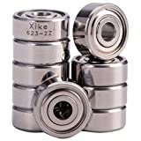 XiKe 10 Pack 623ZZ Precision Bearings 3x10x4mm, Rotate Quiet High Speed and Durable, Double Shield and Pre-Lubricated, Deep Groove Ball Bearings.