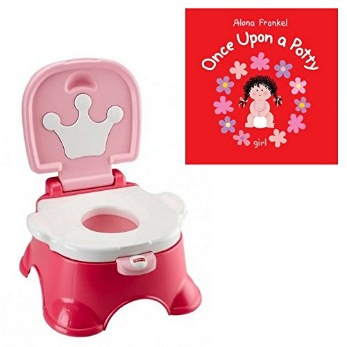 - Fisher-Price All-In-One Potty Chair, Potty Ring & Step Stool Pink Princess & Potty Book Set, Kids Toilet Training (Choose Your Potty Book) (Pink Princess Potty + Once Upon A Potty)