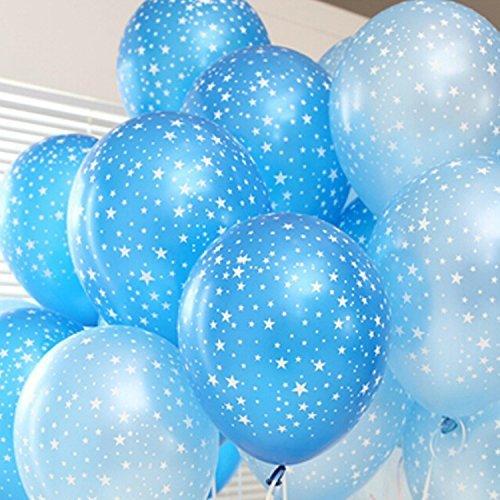 Star Latex Balloons (30ct Assorted Blue & Light Blue Around Star)