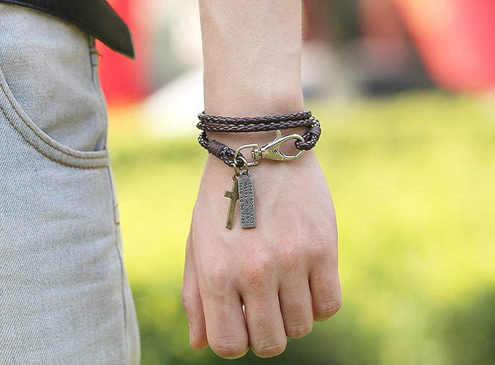 AIUIN Bracelet en PU Corde pour Hommes R/églable Style de Lettre crois/ée r/étro Bijoux Poignet d/écoration Romantique Cadeau de Mariage No/ël