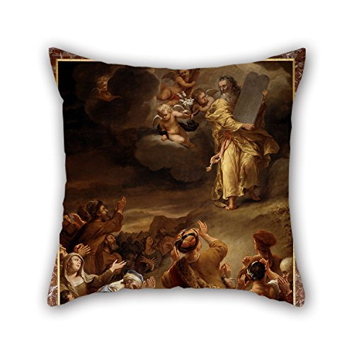 [18 X 18 Inches / 45 By 45 Cm Oil Painting Ferdinand Bol - Moses Descends From Mount Siniai With The Ten Commandments Pillow Shams,both Sides Is Fit For Relatives,car Seat,drawing] (Moses Costume Ten Commandments)