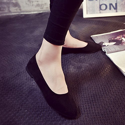 Corriee Ladies Spring Casual Slip On Pointed Toe Flat Shoes Womens Classic Solid Color Boat Shoes Black by Corriee (Image #2)