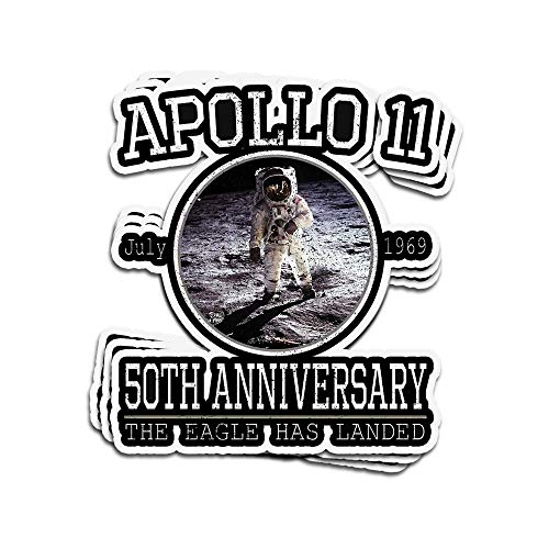 VFreeM 3 PCs Stickers Apollo 11 50Th Anniversary The Eagle Has Landed Apollo Astronaut 4 × 3 Inch Die-Cut Wall Decals for Laptop Window (The Three Astronauts That Landed On The Moon)