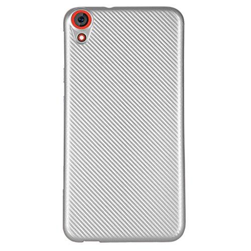 Funda HTC Desire 820 - Simple Moda Delgado Suave Cáscara Silicona Cubierta Posterior Carcasa y Fibra de Carbono Diseño Funda para HTC Desire 820 - Negro Plata