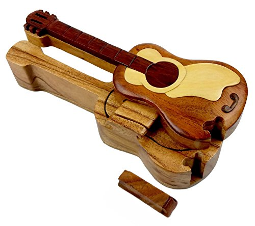 "Guitar All Natural Exotic Woods Puzzle Box, 8"" X 3"" X 2"" ..."