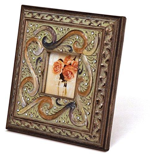 "Enamel Inlaid 3x3 Wood Picture Frame w/ Jewels, 7""Lx1""Wx7""H - San Simeon"