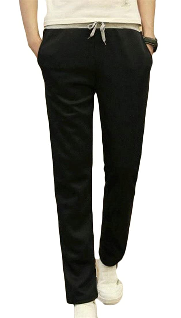 JuJuTa Mens Drawstring Leisure Solid Color Activewear Straight Leg Trousers Elastic Waist Pants