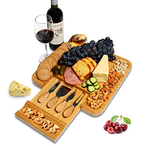- Elevkin Bamboo Cheese Board and Knife Set with Cutlery, 5pc - Natural Wood Serving Platter Charcuterie Tray with Slide-Out Drawer for Utensils, Tools - Perfect for Housewarming Gift.