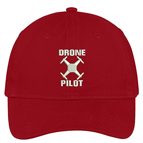 Red Brushed Cotton Cap (Trendy Apparel Shop Drone Operator Pilot Embroidered Soft Crown 100% Brushed Cotton Cap - Red)