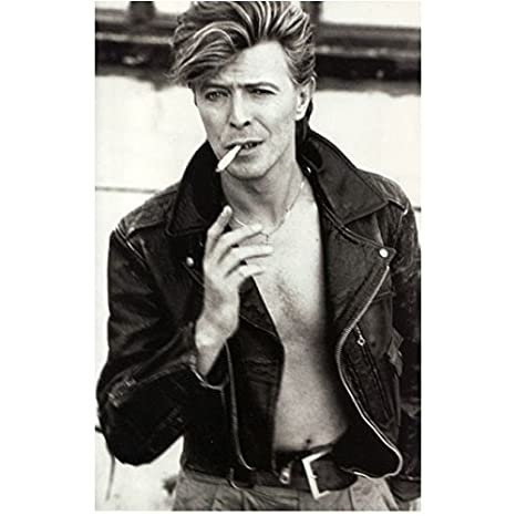 David Bowie 8inch x 10inch Photo Labyrinth Basquiat The Hunger The Man Who  Fell to Earth B&W Pic Tough Guy Pose Shirtless Smoking Leather Jacket kn