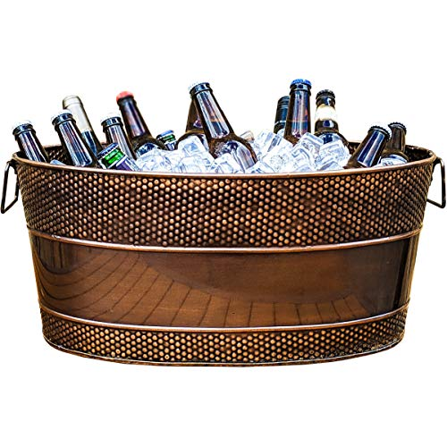 BREKX Aspen Copper Finish Hammered Beverage Tub for Parties, Weddings, Registry, Anniversary, Housewarming Gifts- 25-Quart