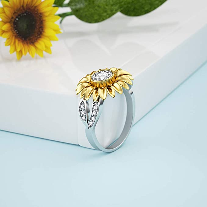 Sterling Silver Sunflower Hammered Ring Womens Ring Mammoth Sunflower Ring Stacking Ring Fall Sunflower Ring Flower Ring