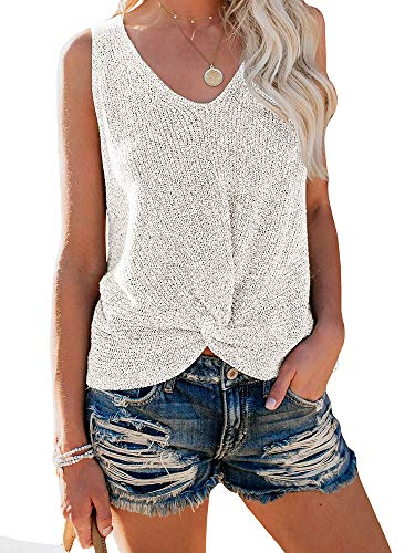 - Ybenlow Womens Summer V Neck Sleeveless Sweater Twist Knot Casual Loose Knit Tank Tops White