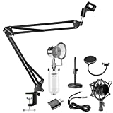 Neewer 5-in-1 Condenser Microphone and Accessory Kit: NW-1500 Desktop Condenser Microphone (White), NW-35 Suspension Boom Scissor Arm Stand,NW(B-3) Pop Filter Mask Shield and USB 2.0 Sound Adapter