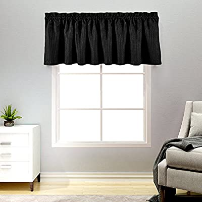 Lazzzy Black Waffle Weave Cafe Curtains Waterproof Kitchen Window Curtain  Valance for Bathroom 1 Panel 60\
