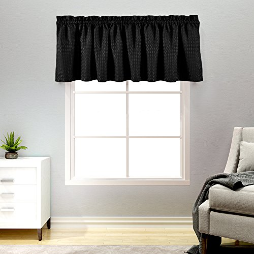 (Lazzzy Black Waffle Weave Cafe Curtains Waterproof Kitchen Window Curtain Valance for Bathroom 1 Panel 60