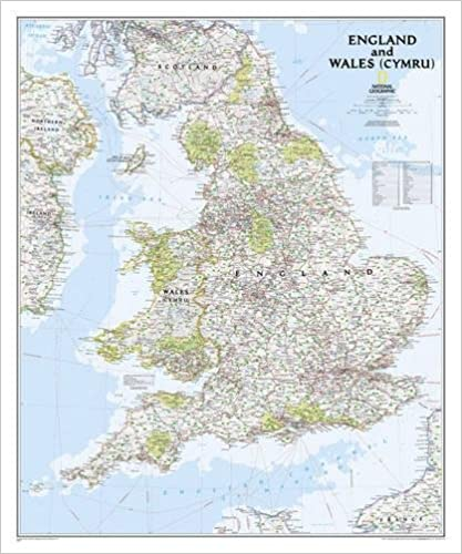 National Geographic England And Wales Classic Wall Map 30 X 36