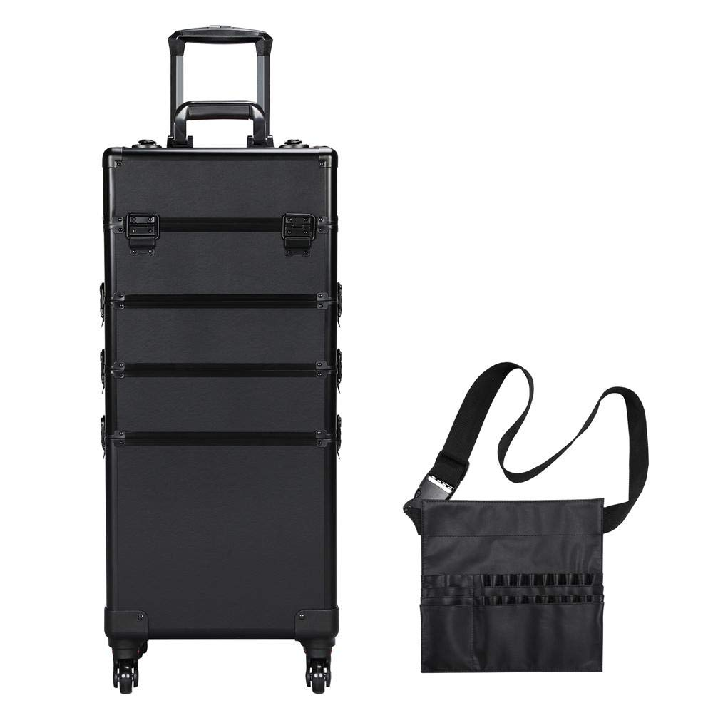 Yaheetech 4 in 1 Makeup Case Rolling Aluminum Large Cosmetic Trolley Removable Wheels with Makeup Brush Bag Black Professional Portable Aluminum Cosmetic Storage by Yaheetech