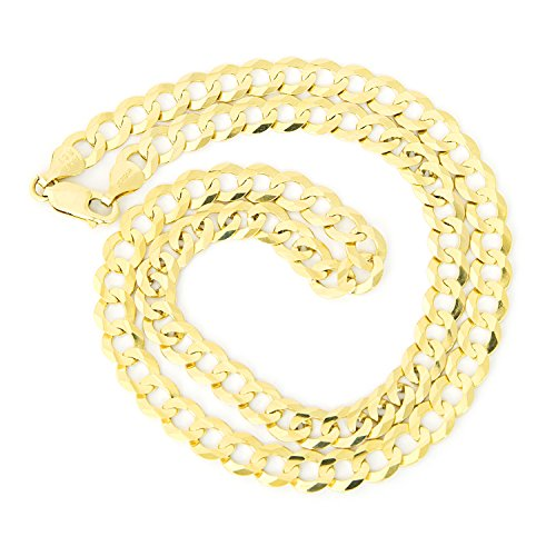 Men's Solid 14k Yellow Gold Comfort Cuban Curb Heavy 7mm Chain Necklace, 24